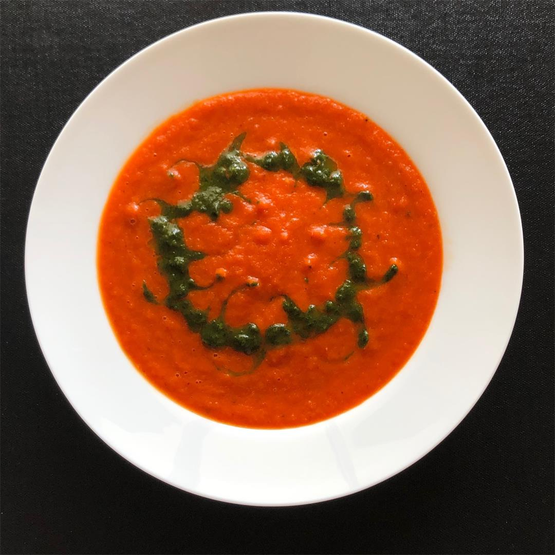 Roasted Capsicum Soup with Basil Oil