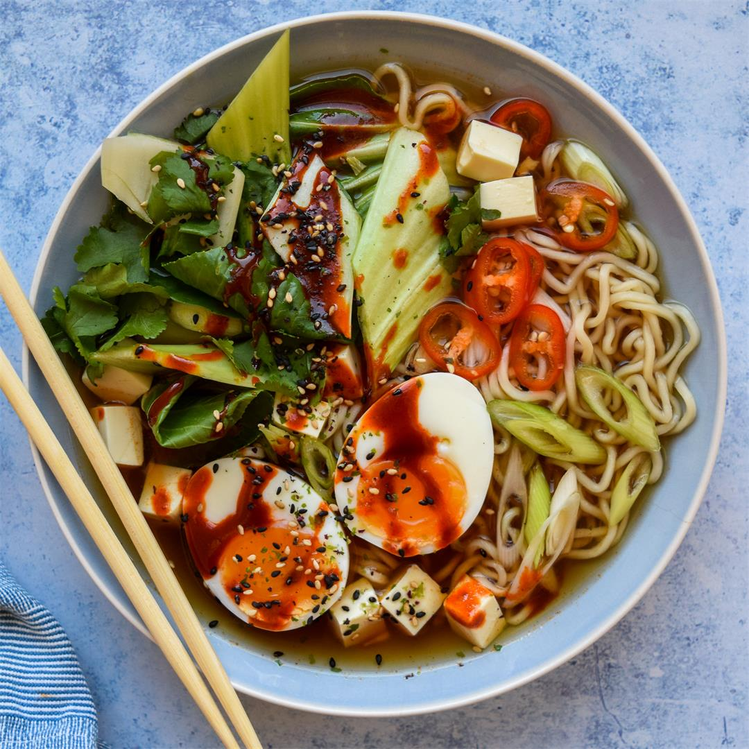 Slow Cooker Ramen with a Soft Boiled Egg & Silken Tofu