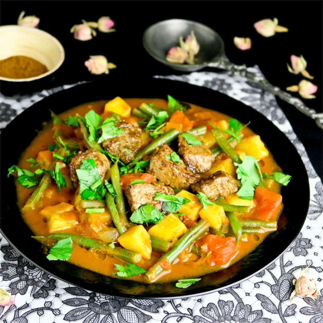 Moroccan vegetable and pork tenderloin dish with ras-el-hanout