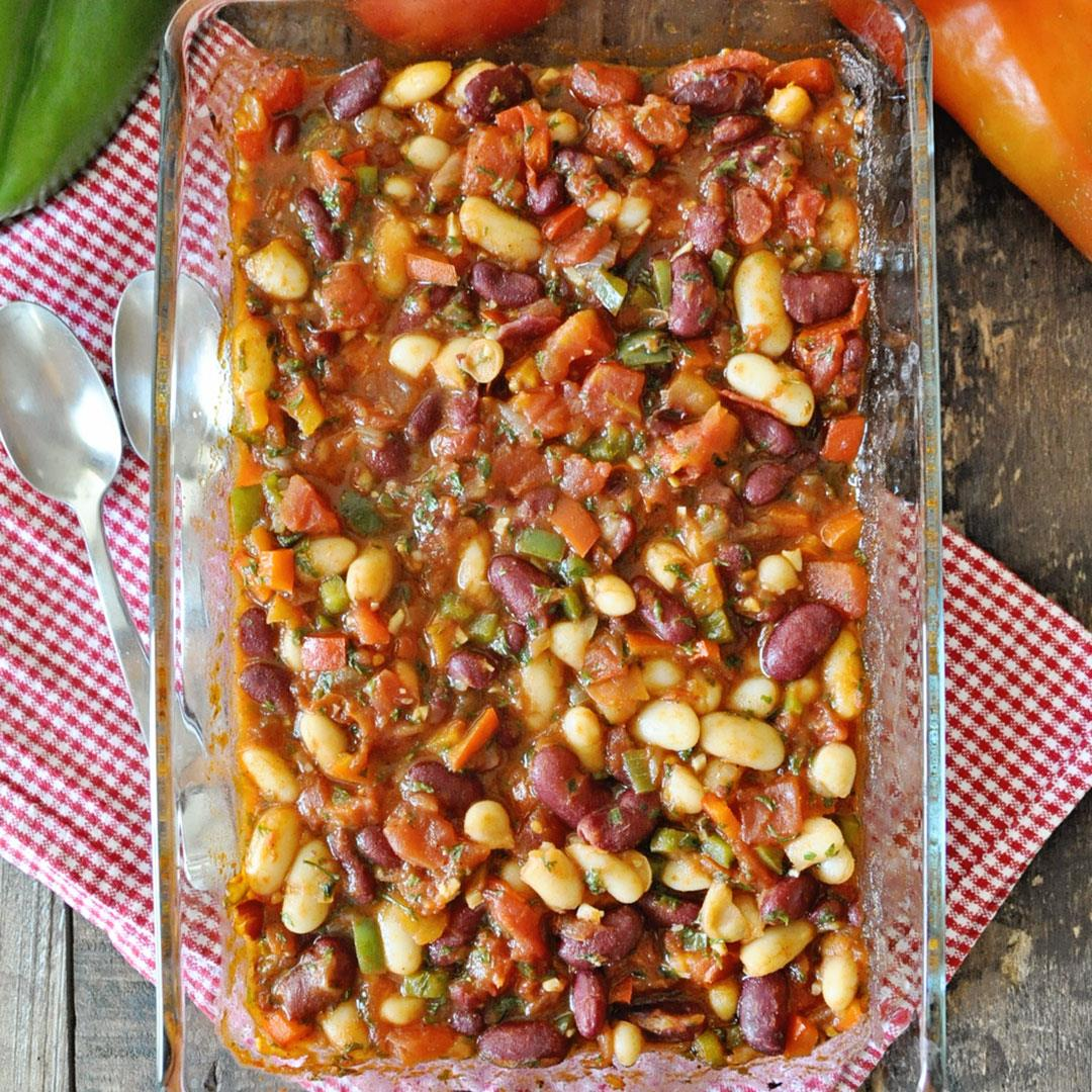 Spanish Baked Beans with Tomatoes and Peppers