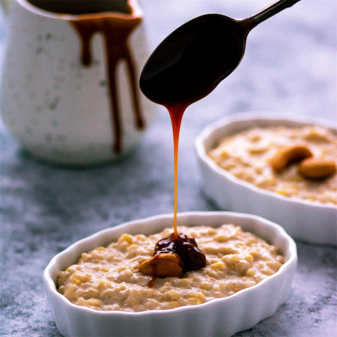 Milk pongal with caramel sauce