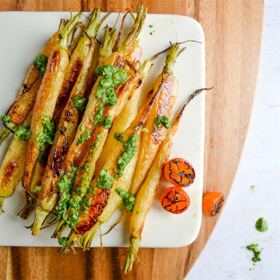 Roasted Baby Carrots with Fresh Carrot Top Pesto