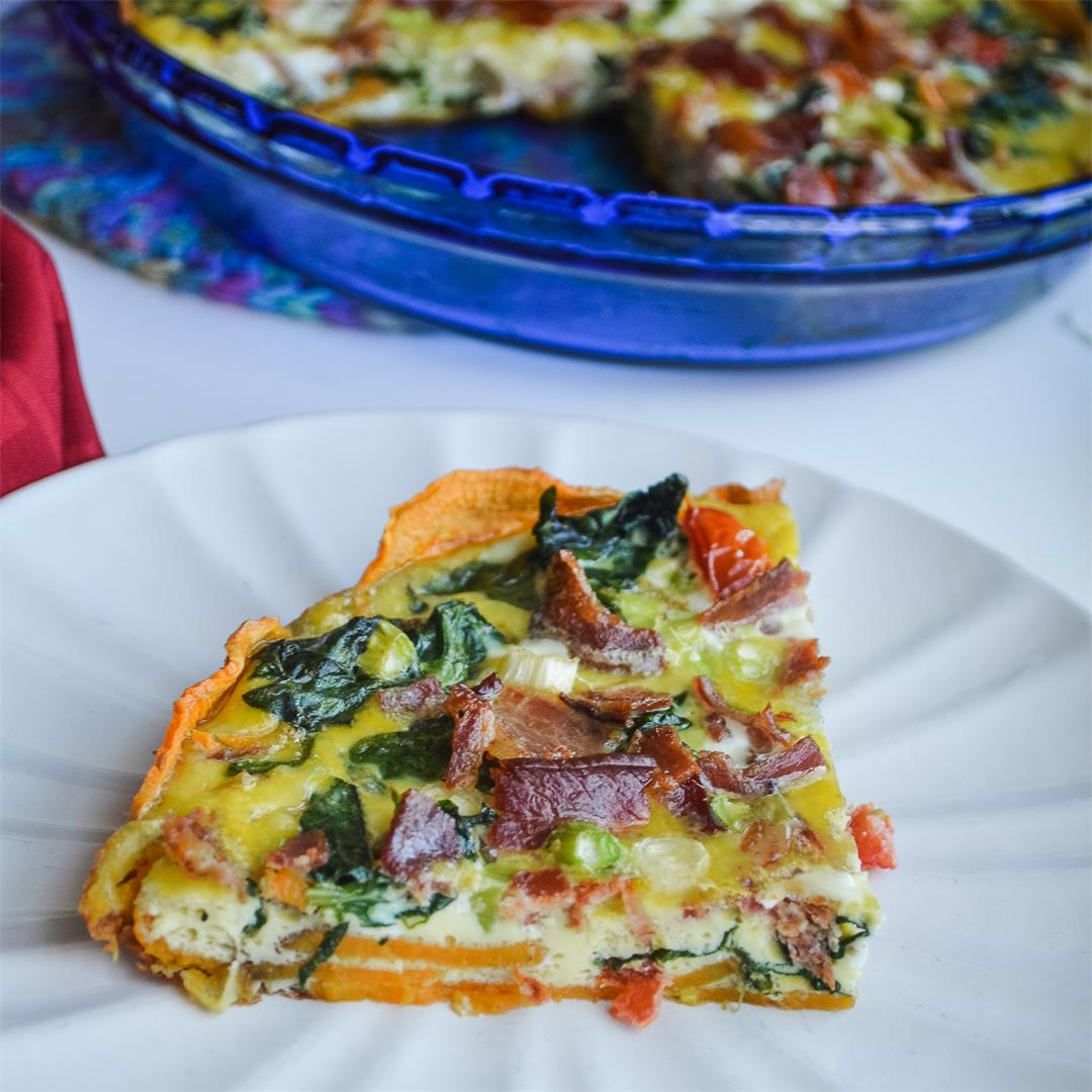 Spinach Bacon Quiche with Sweet Potato Crust