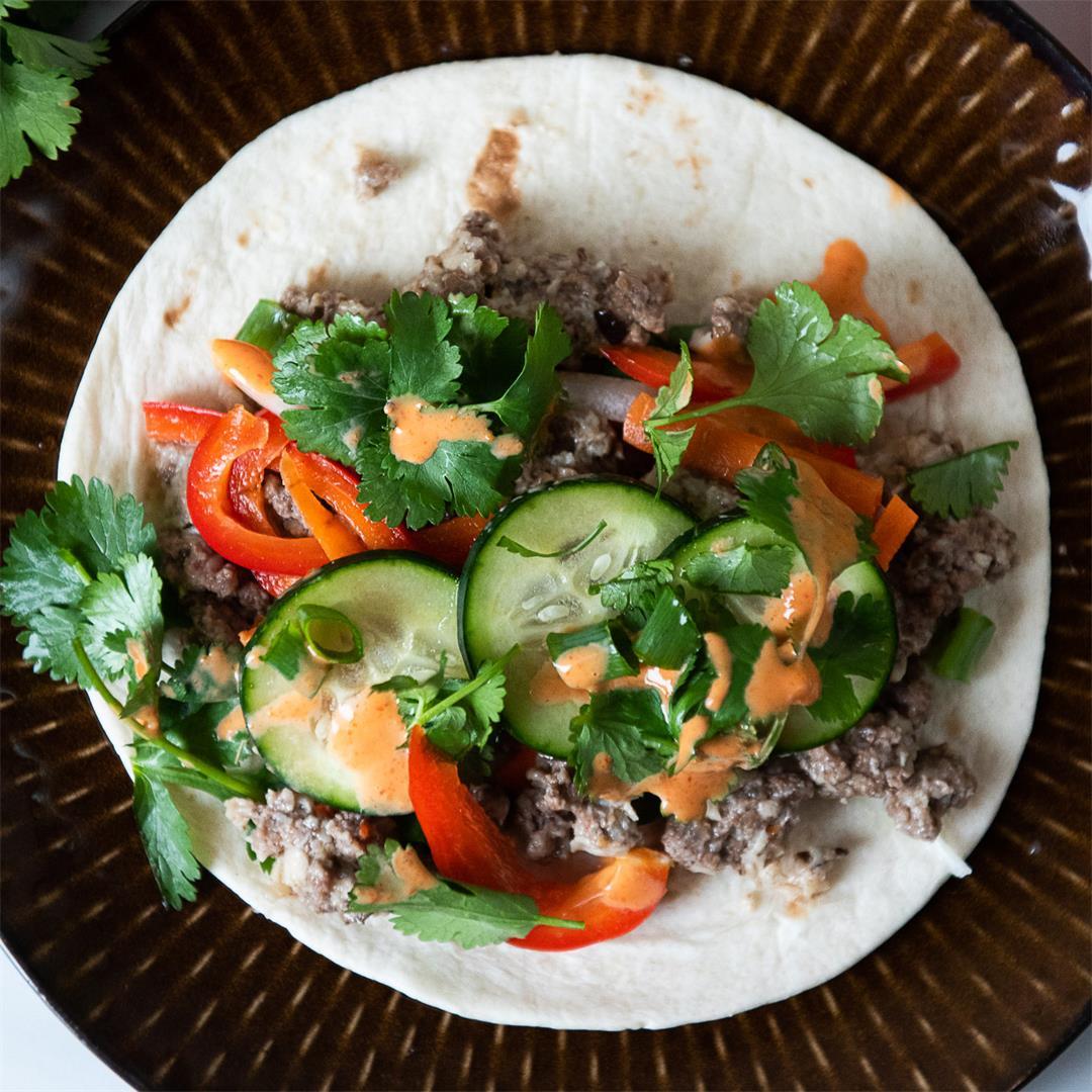Spicy Beef and Shiitake Bahn Mi Tacos
