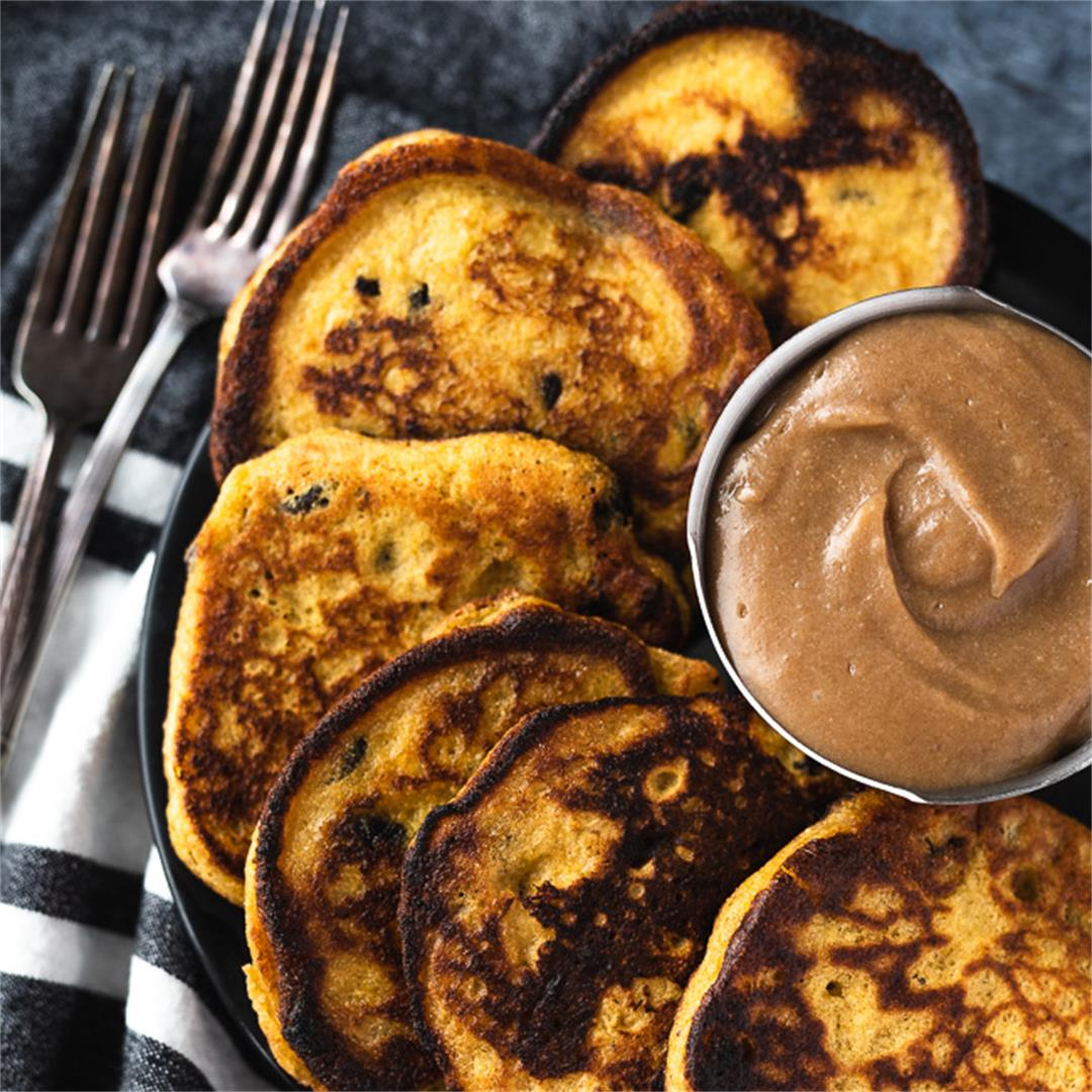 Plantain & Raisin Fritters with Date Caramel Dipping Sauce