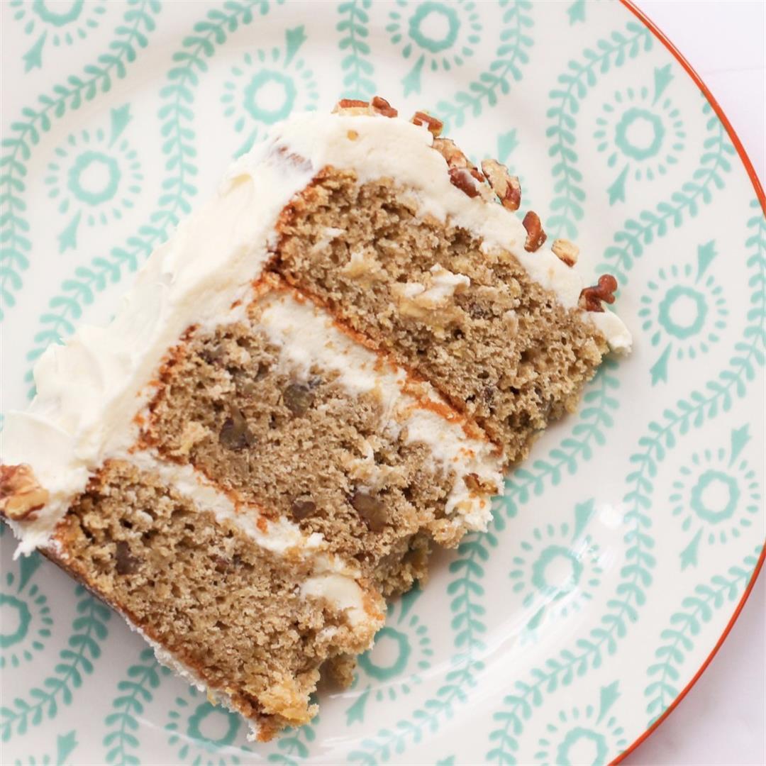 Rich brown butter hummingbird cake with frosting