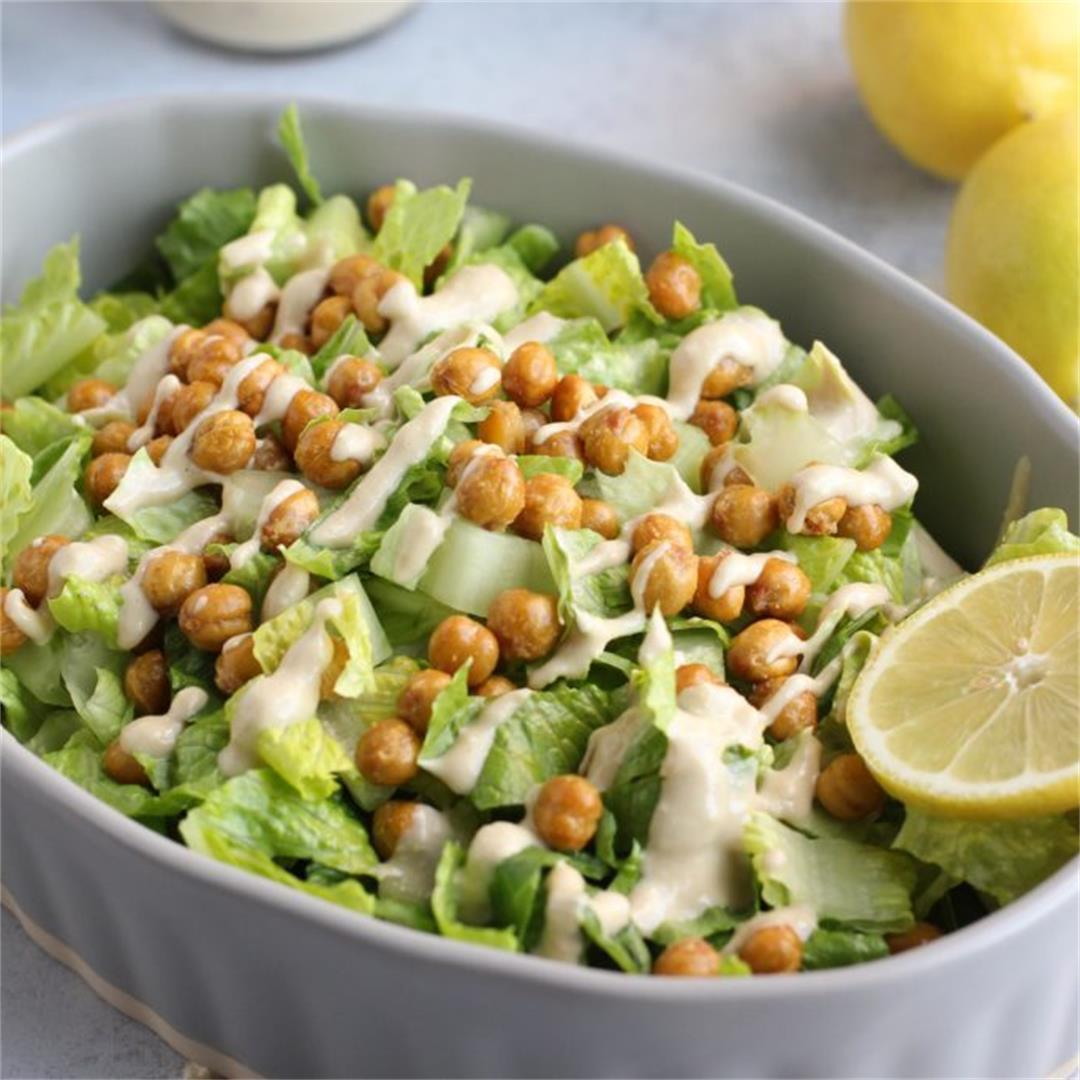 Vegan Caesar Salad with Crispy Chickpeas