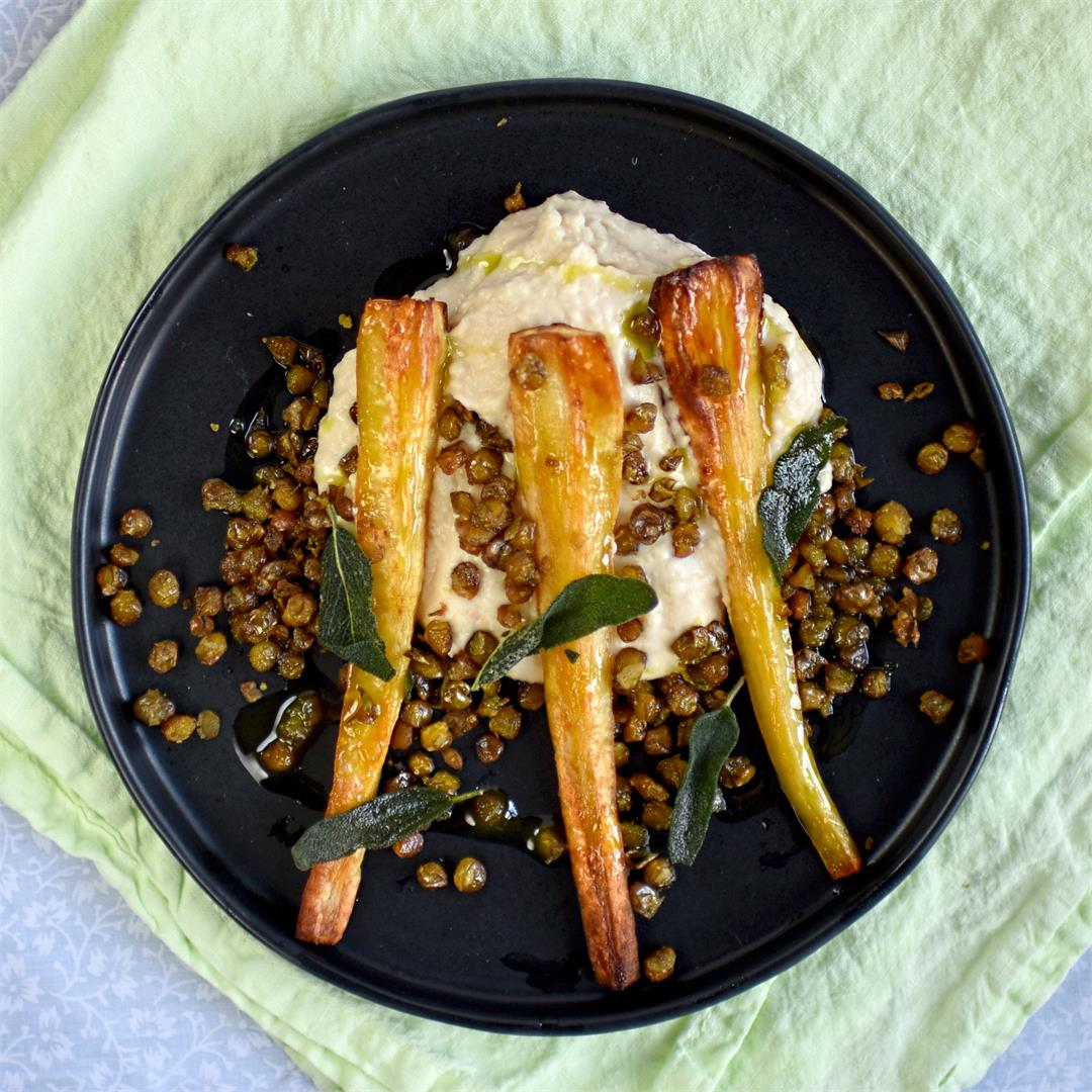 roast parsnip with cannellini bean puree and crispy lentils