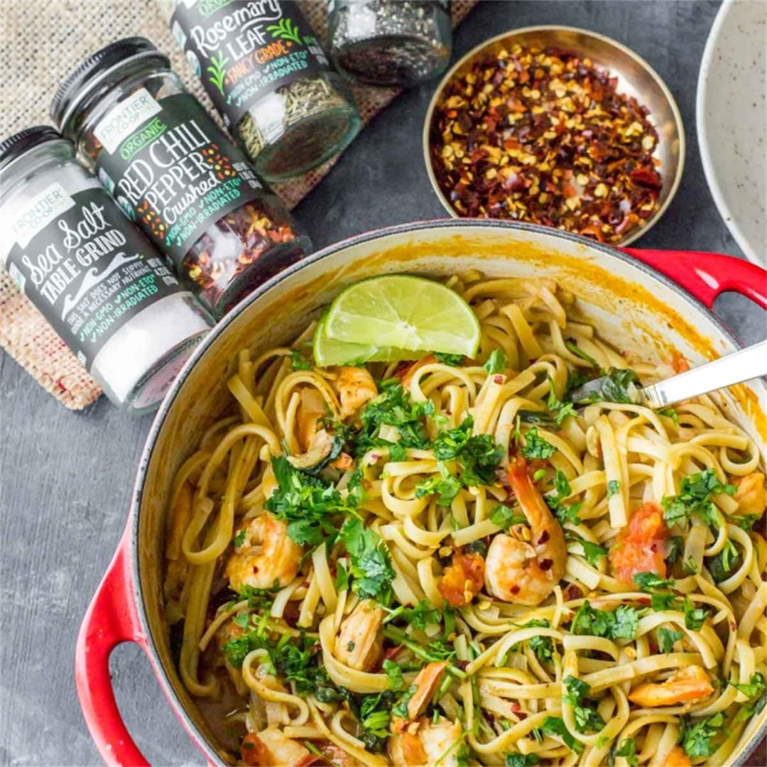 One pot creamy curry pasta with shrimp