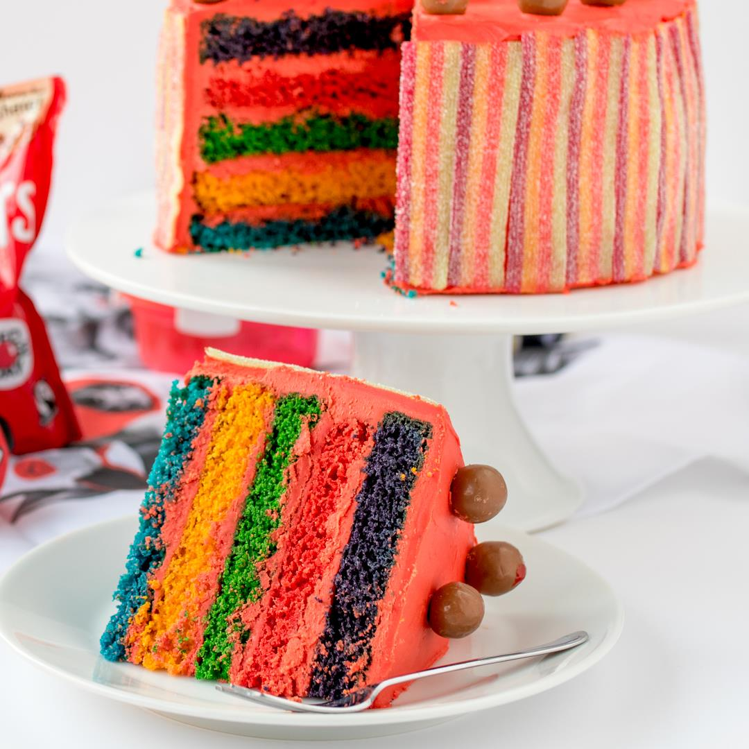 Red Nose Day Rainbow Cake