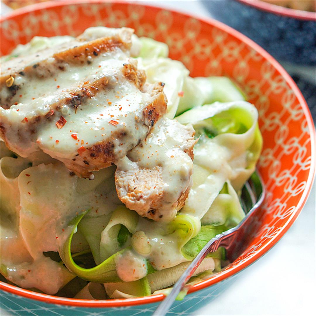 Easy Keto Alfredo Sauce with Chicken & Zucchini Noodles