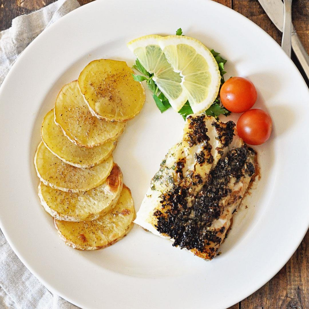 Garlic Herbed Spanish Cod with Roasted Potatoes