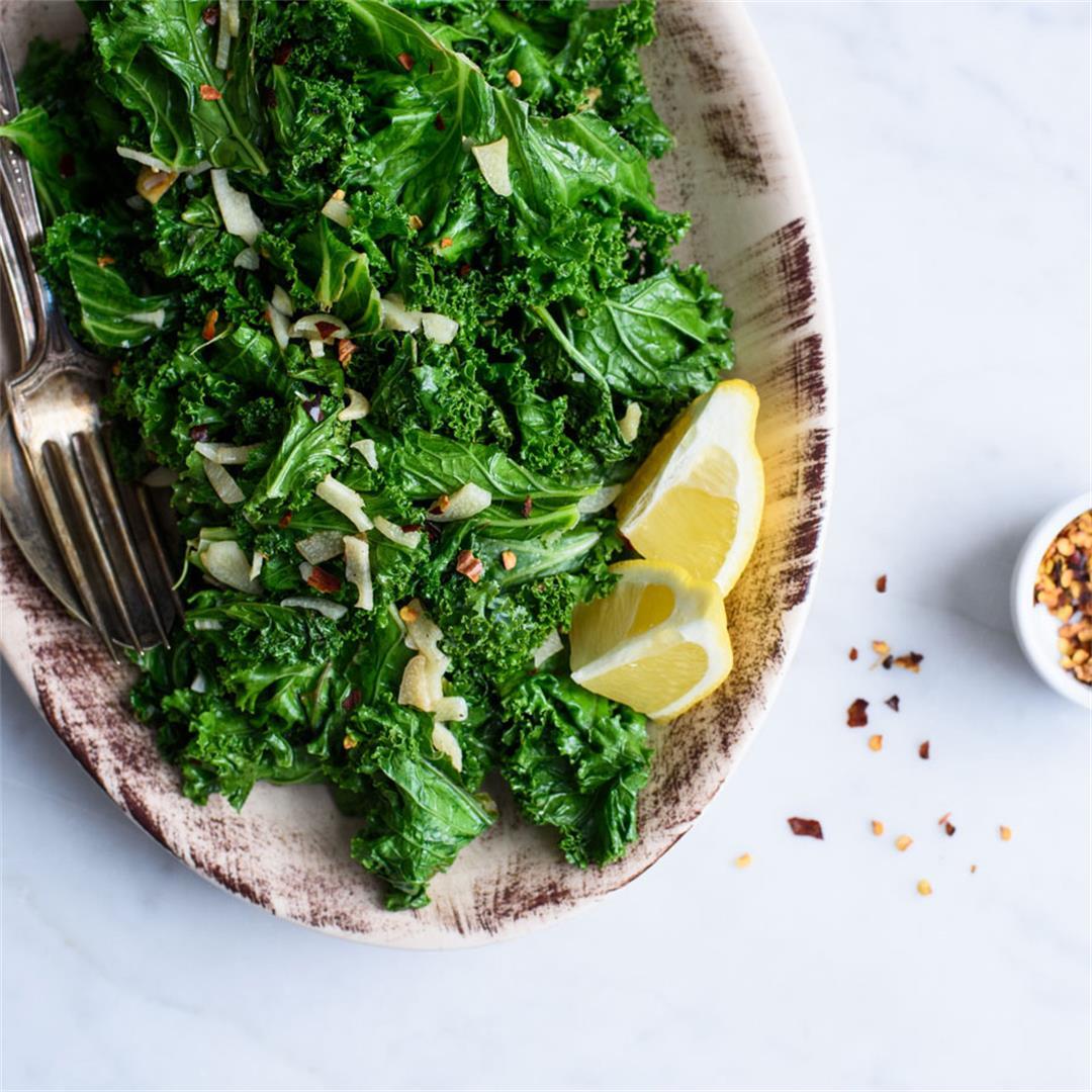 The easiest sautéed kale with garlic + lemon
