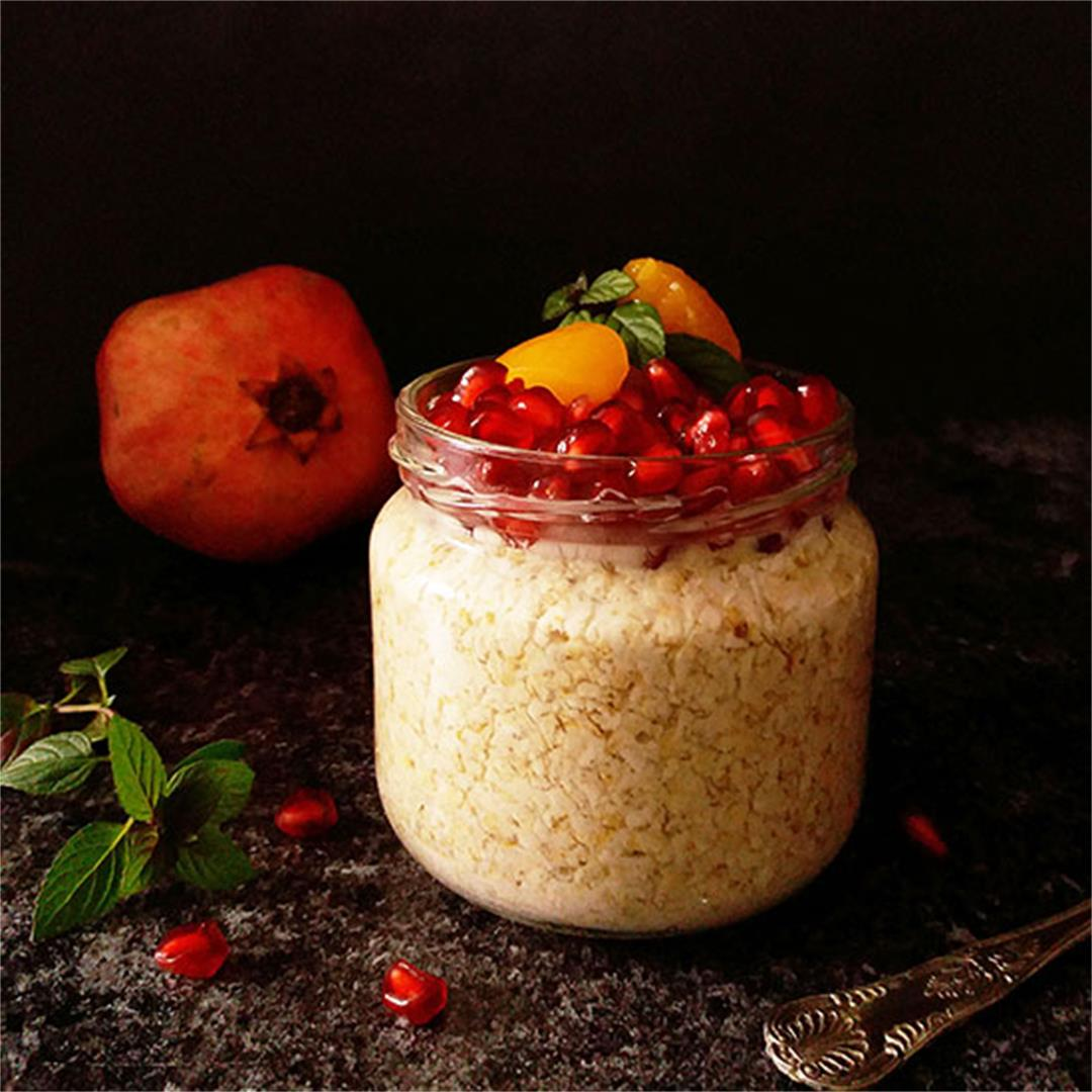 Armenian Overnight Oats with Pomegranate and Apricot