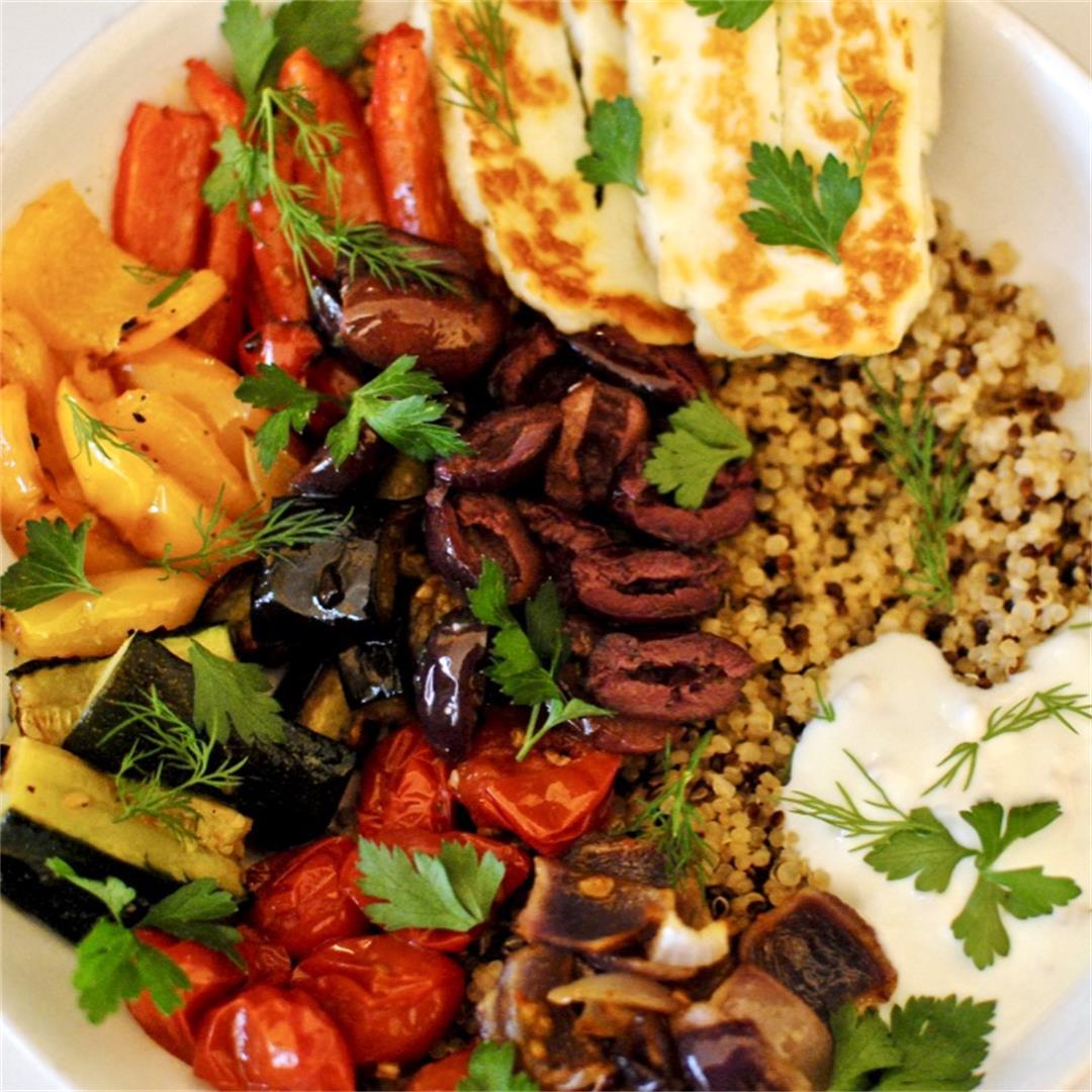 Roasted Veggie & Halloumi Quinoa Bowl