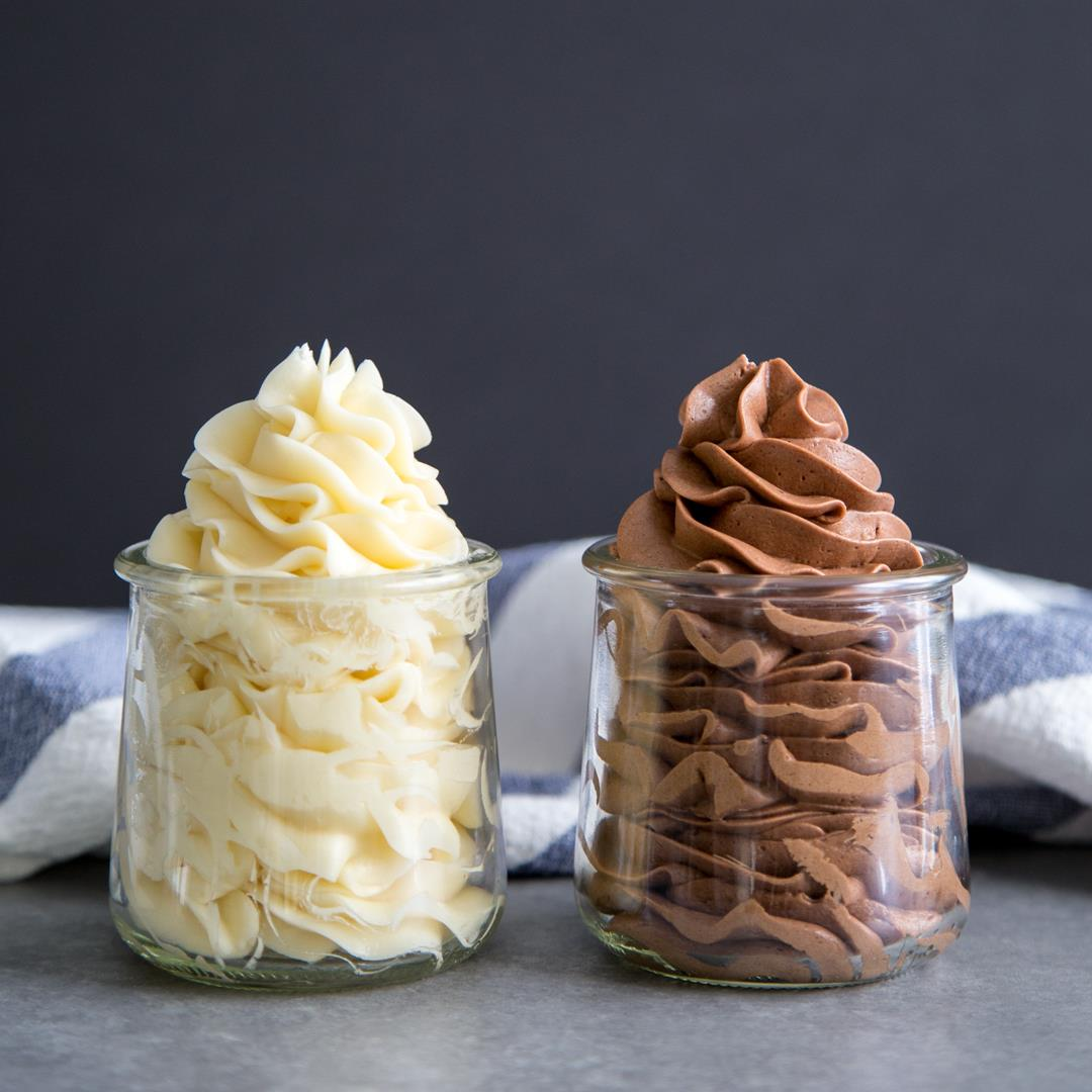 Swiss Meringue Buttercream {Vanilla & Chocolate}