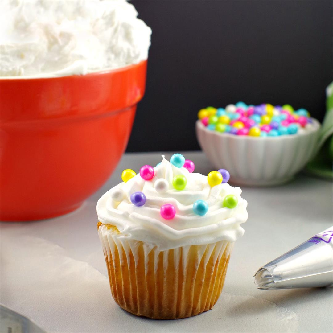 Whipped Cream Buttercream Frosting - a light and airy icing
