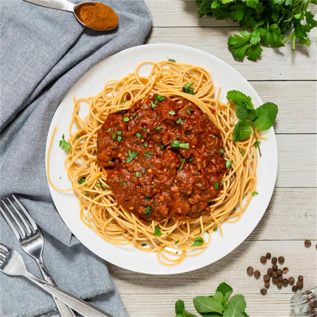 Greek Meat Sauce with Spaghetti