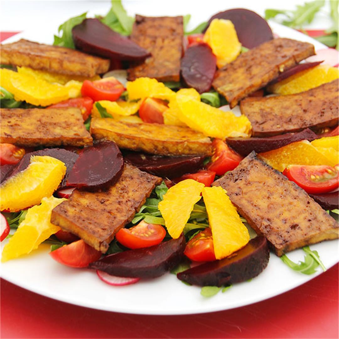spicy beet, orange & tofu salad