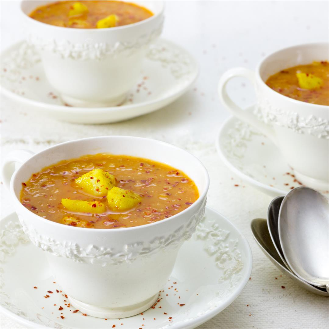 Red Lentil Soup with Carrot & Ginger (Oil-free and Vegan)