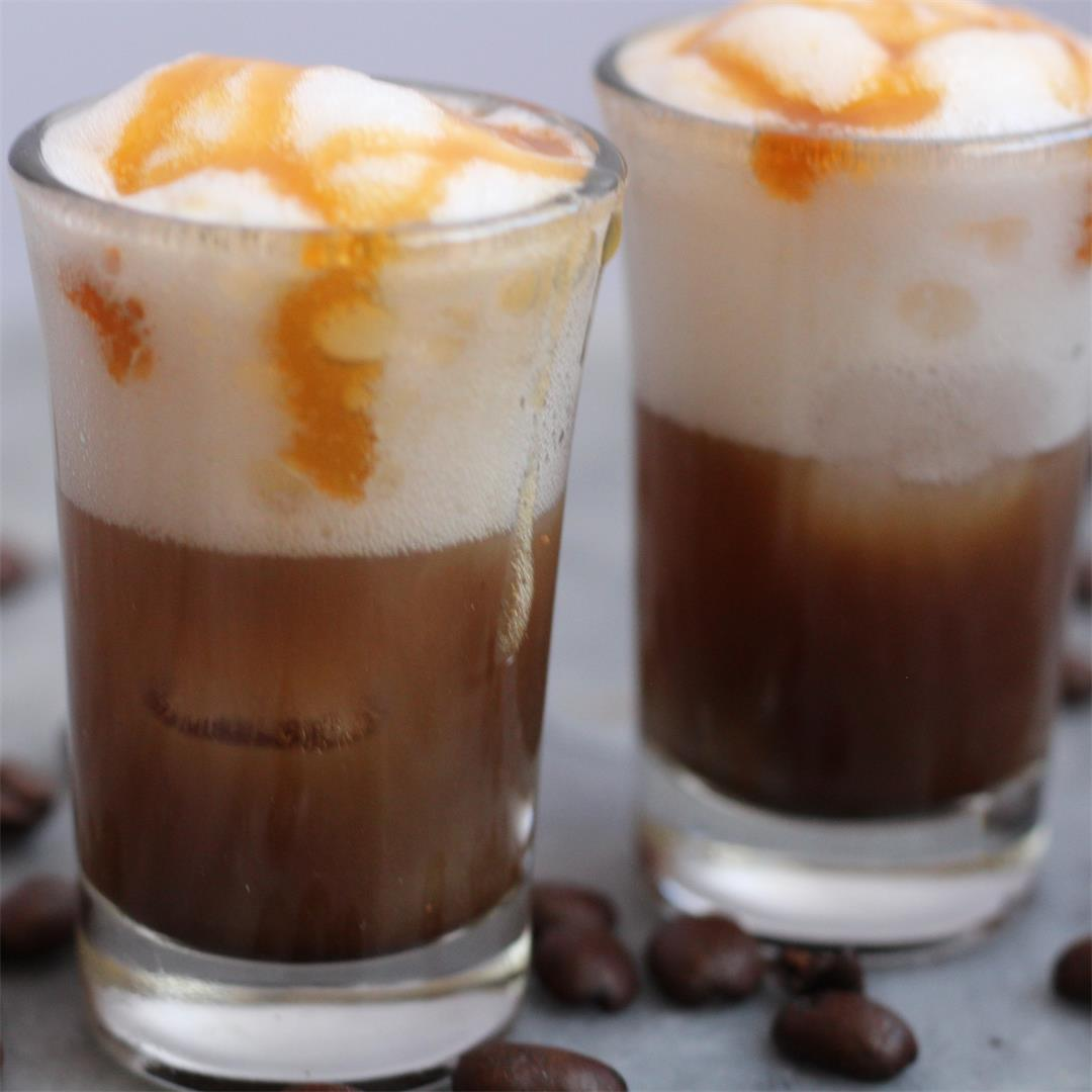 Espresso topped with foamy, cloud like meringue milk & caramel