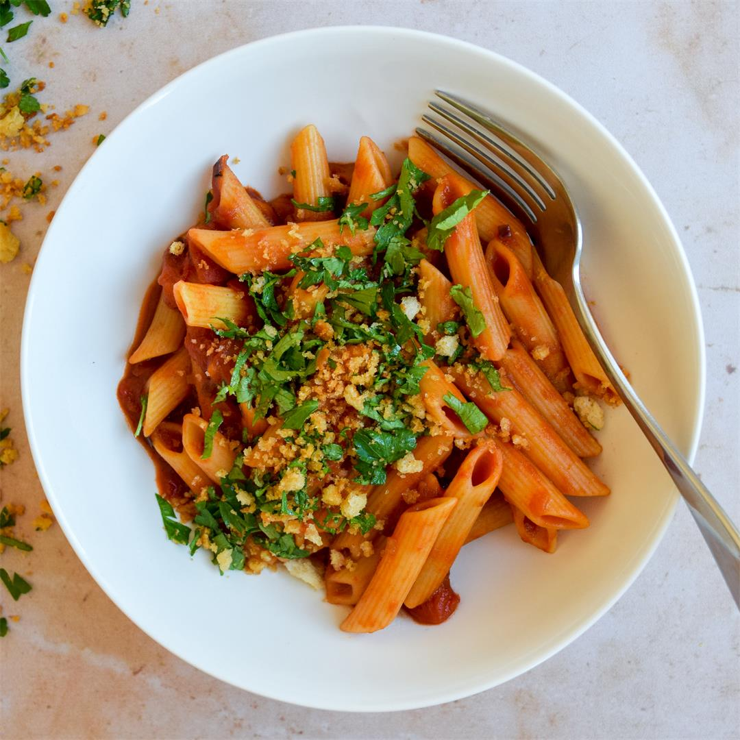 Bloody Mary Penne with Parsley Breadcrumbs (Vegan Option)