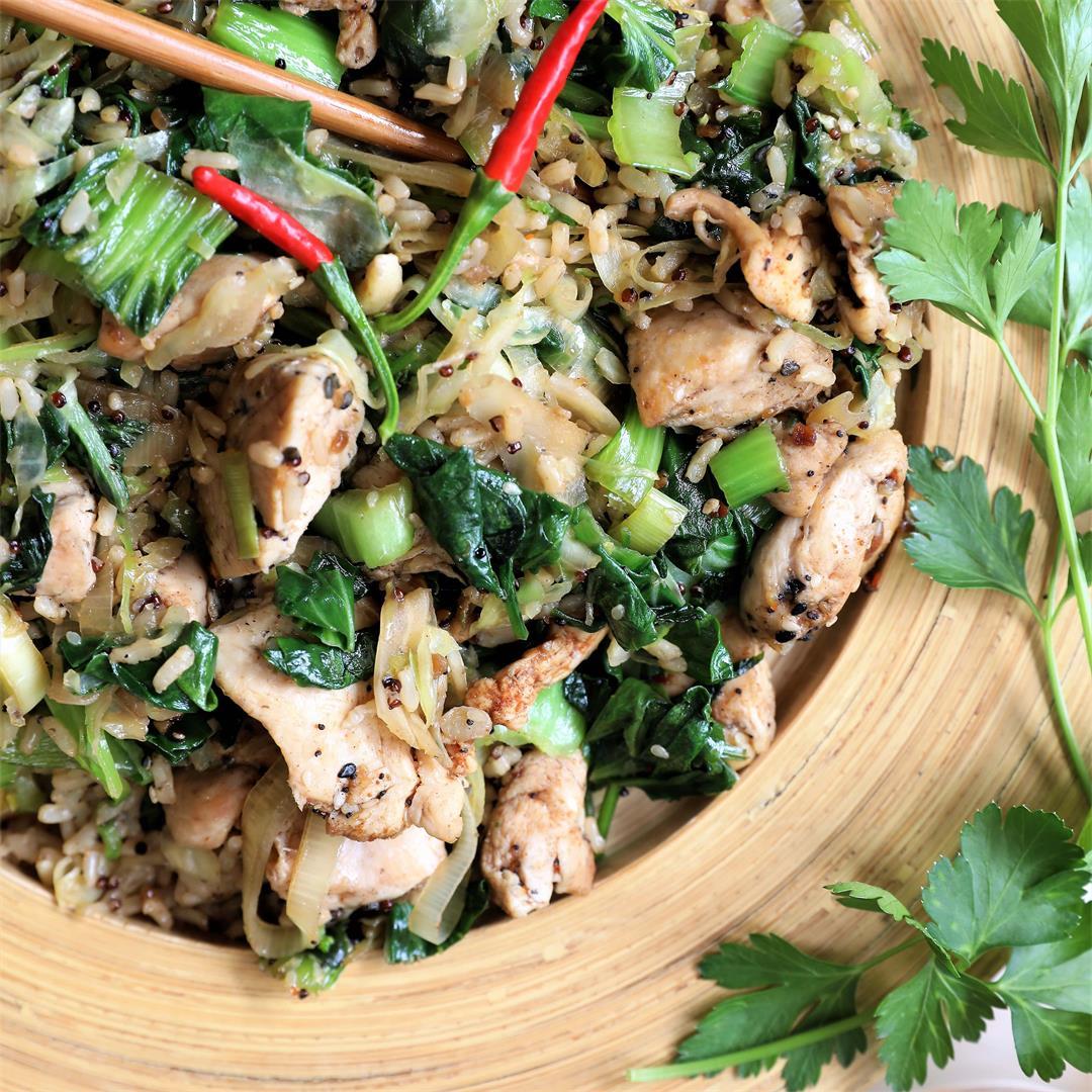 Chicken Fried Rice & Greens