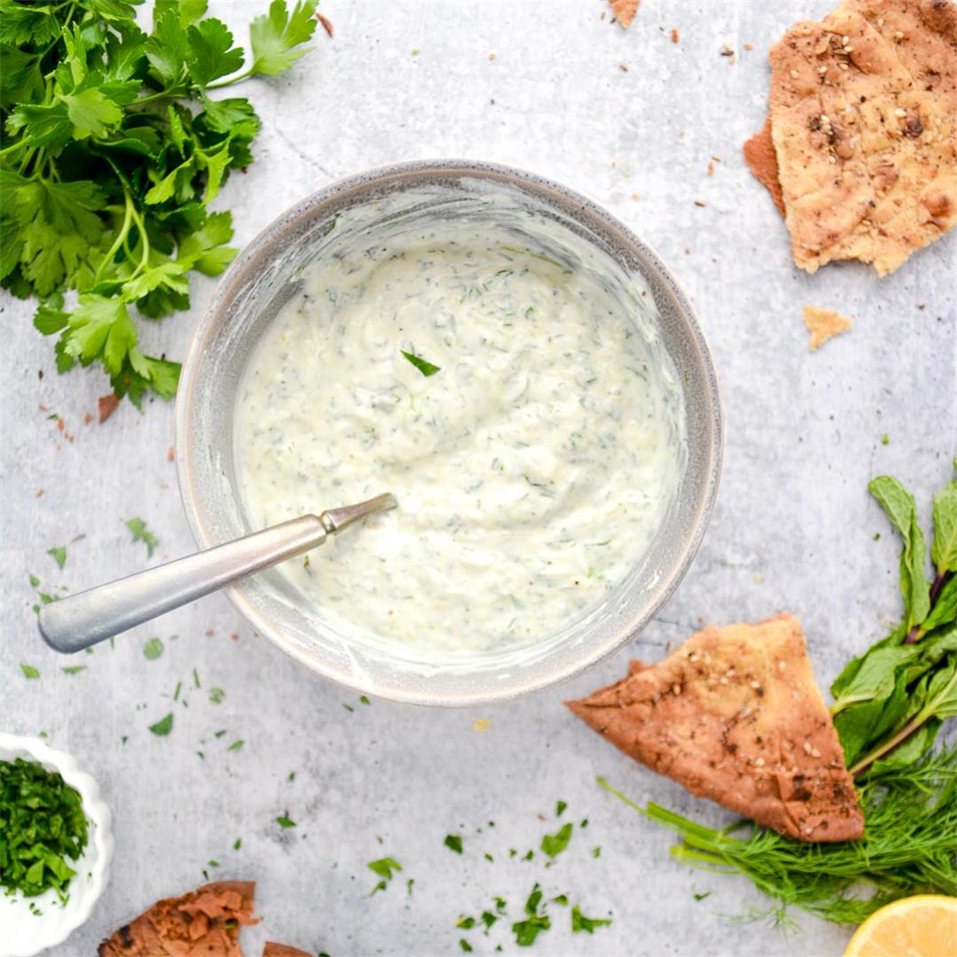 Easy Tzatziki with Za'atar Roasted Naan