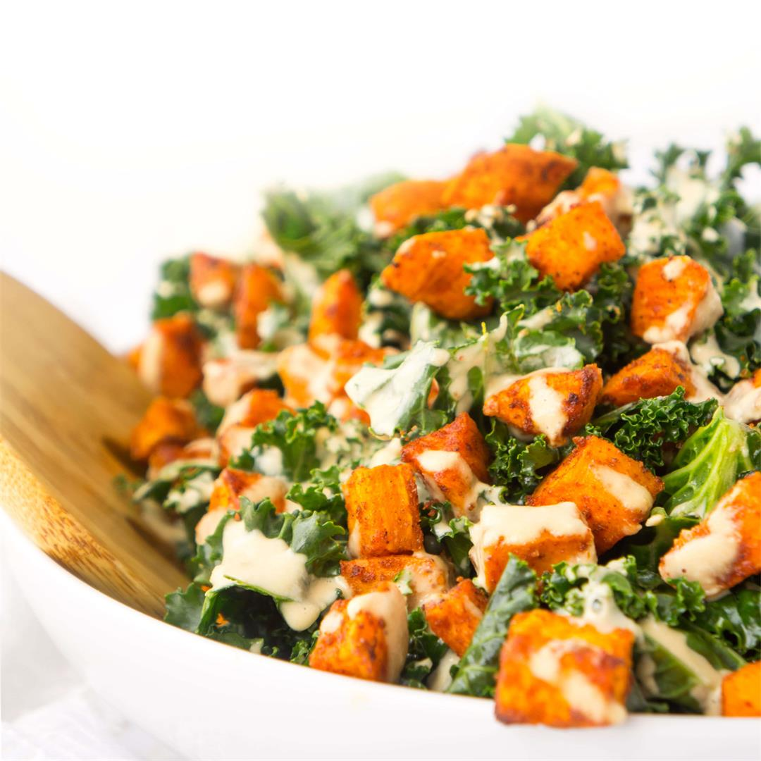 Sweet Potato Kale Bowls with Creamy Roasted Garlic Dressing