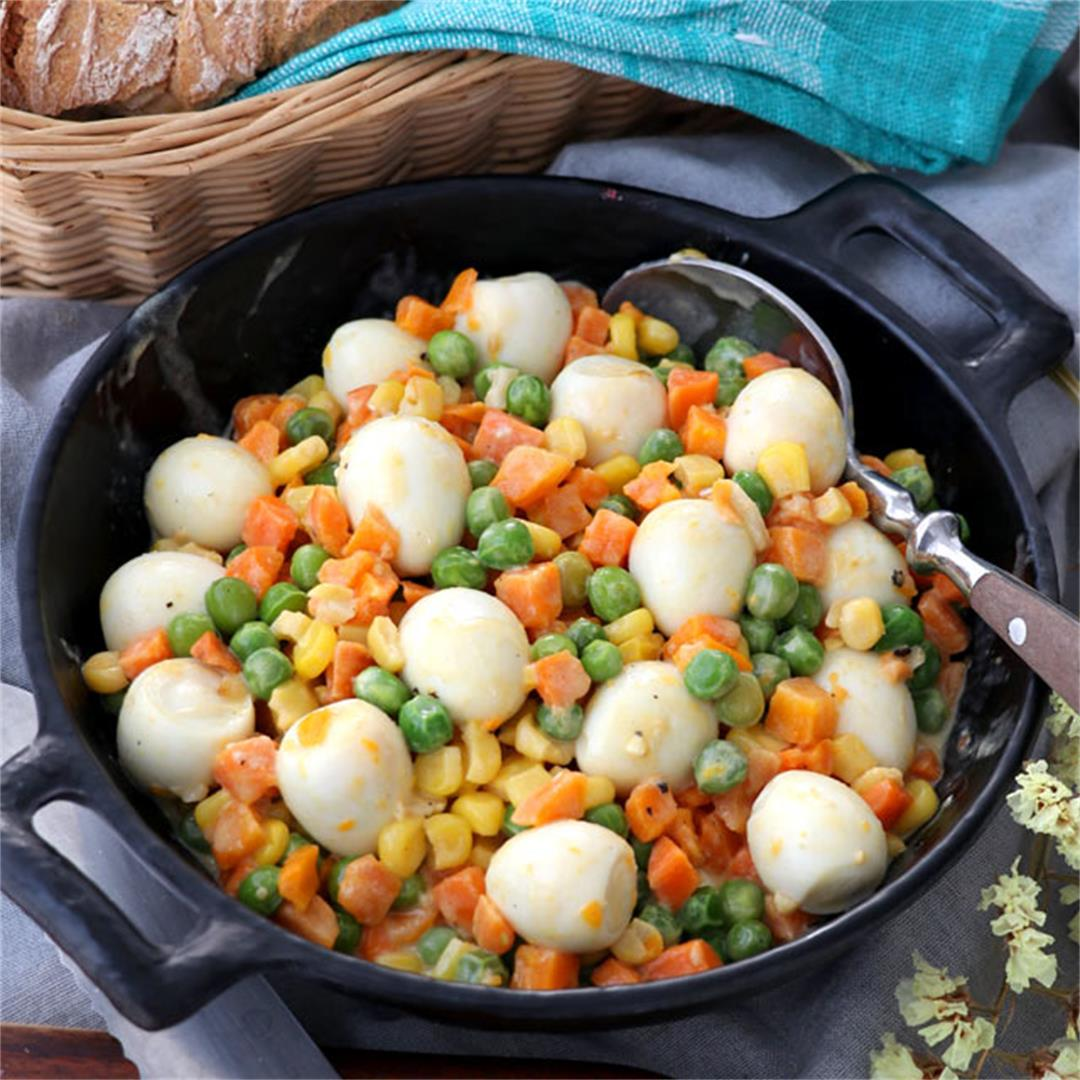 Mixed Vegetables With Quail Eggs