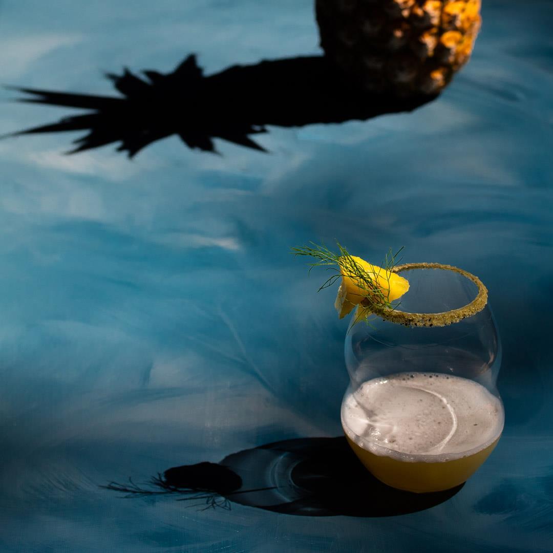 Pineapple fennel shrub margarita cocktail