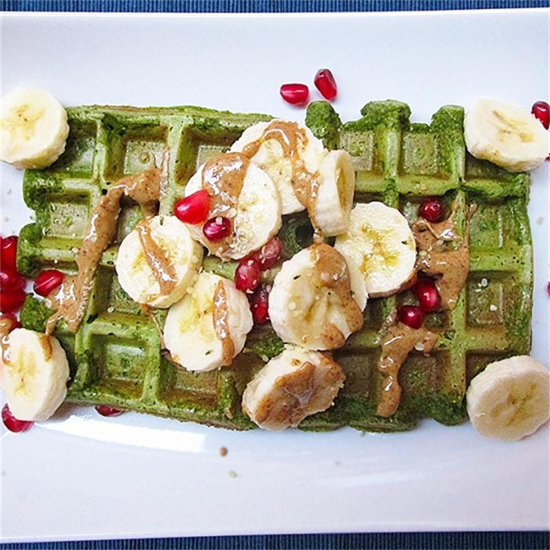 Green Spinach Oat Waffles – Vegan