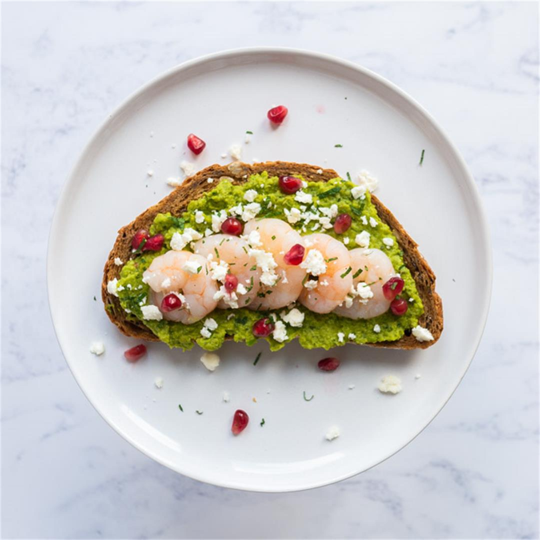 Minted Pea Purée Tartine with Prawns, Feta and Pomegranate