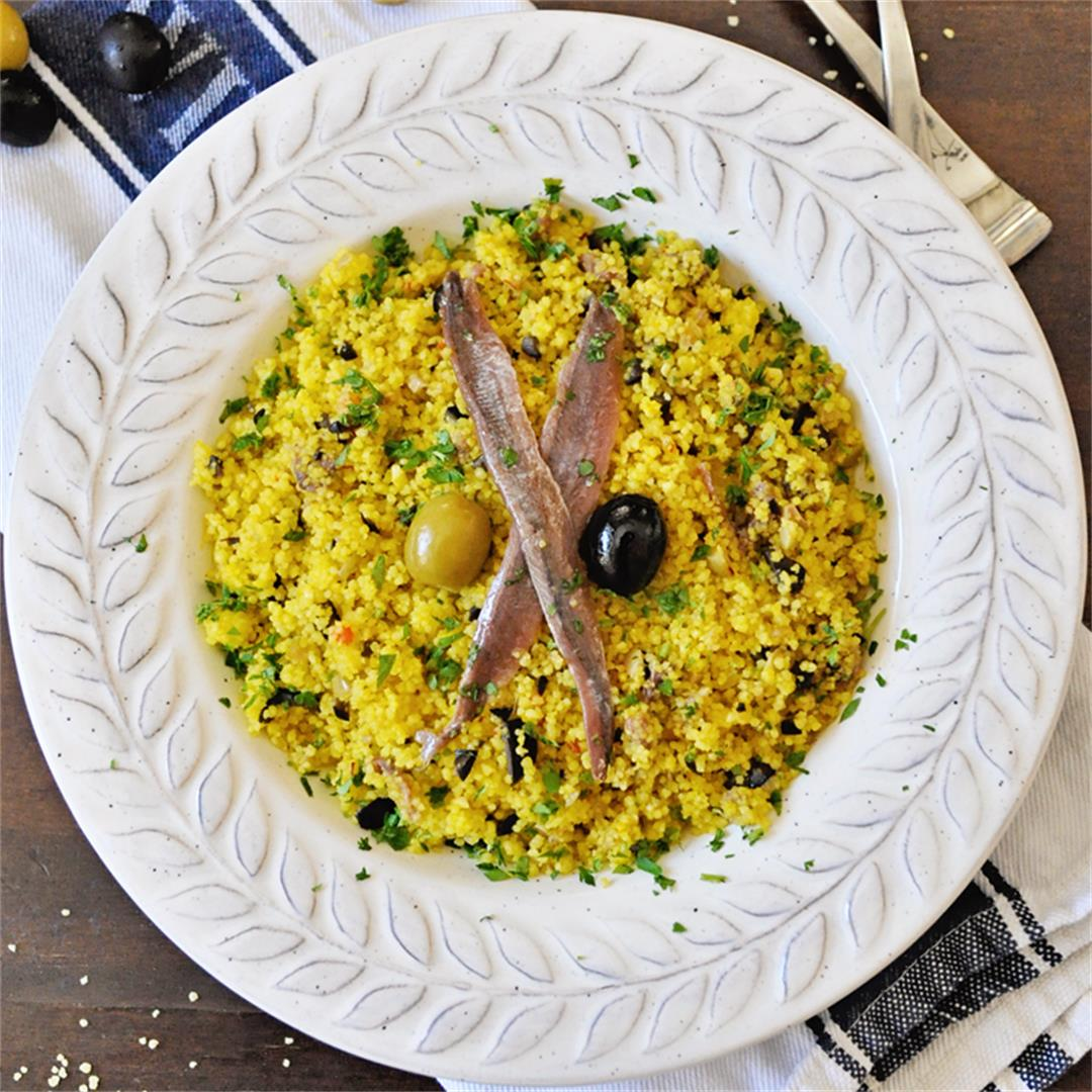 Saffron Couscous with Spanish Olives and Anchovies