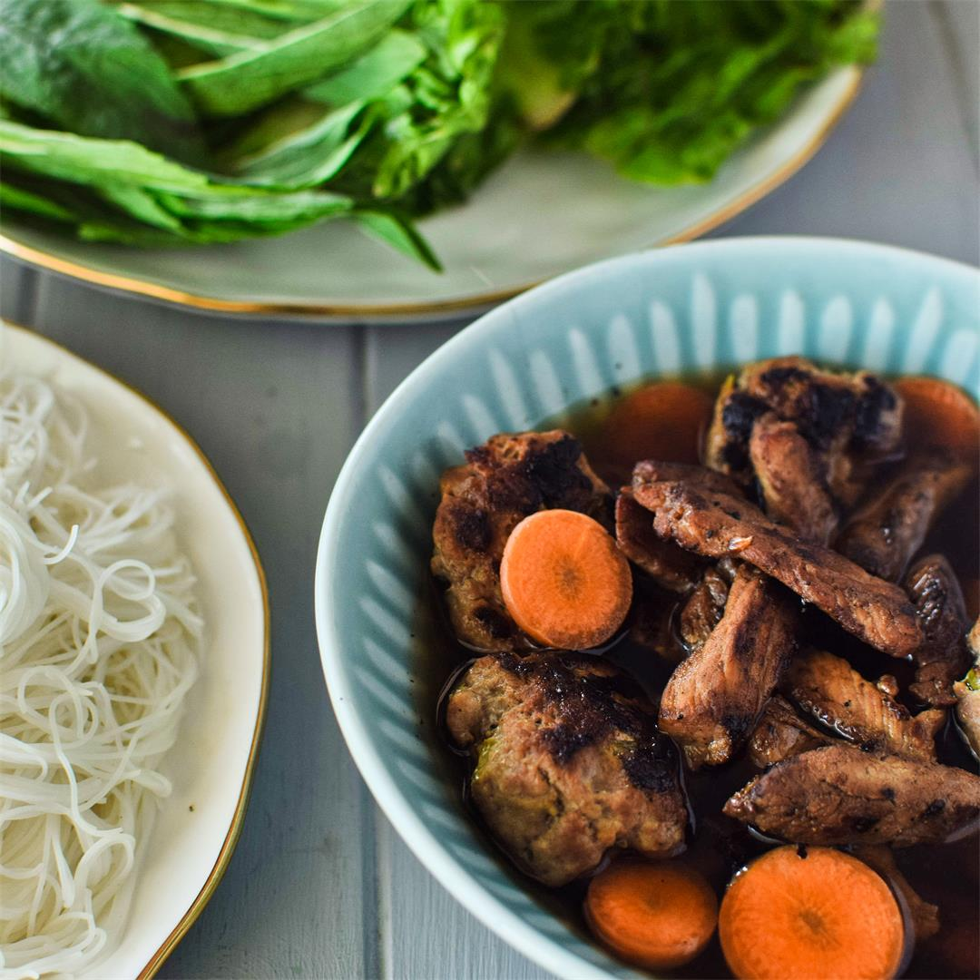 Bun Cha (Bún Chả) - Grilled Pork with Herbs and Rice Noodles