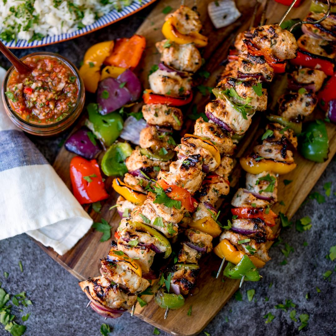 Mexican Chicken Skewers with picante