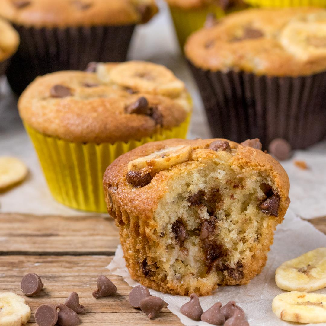 Bakery Style Chocolate Chip Banana Muffins