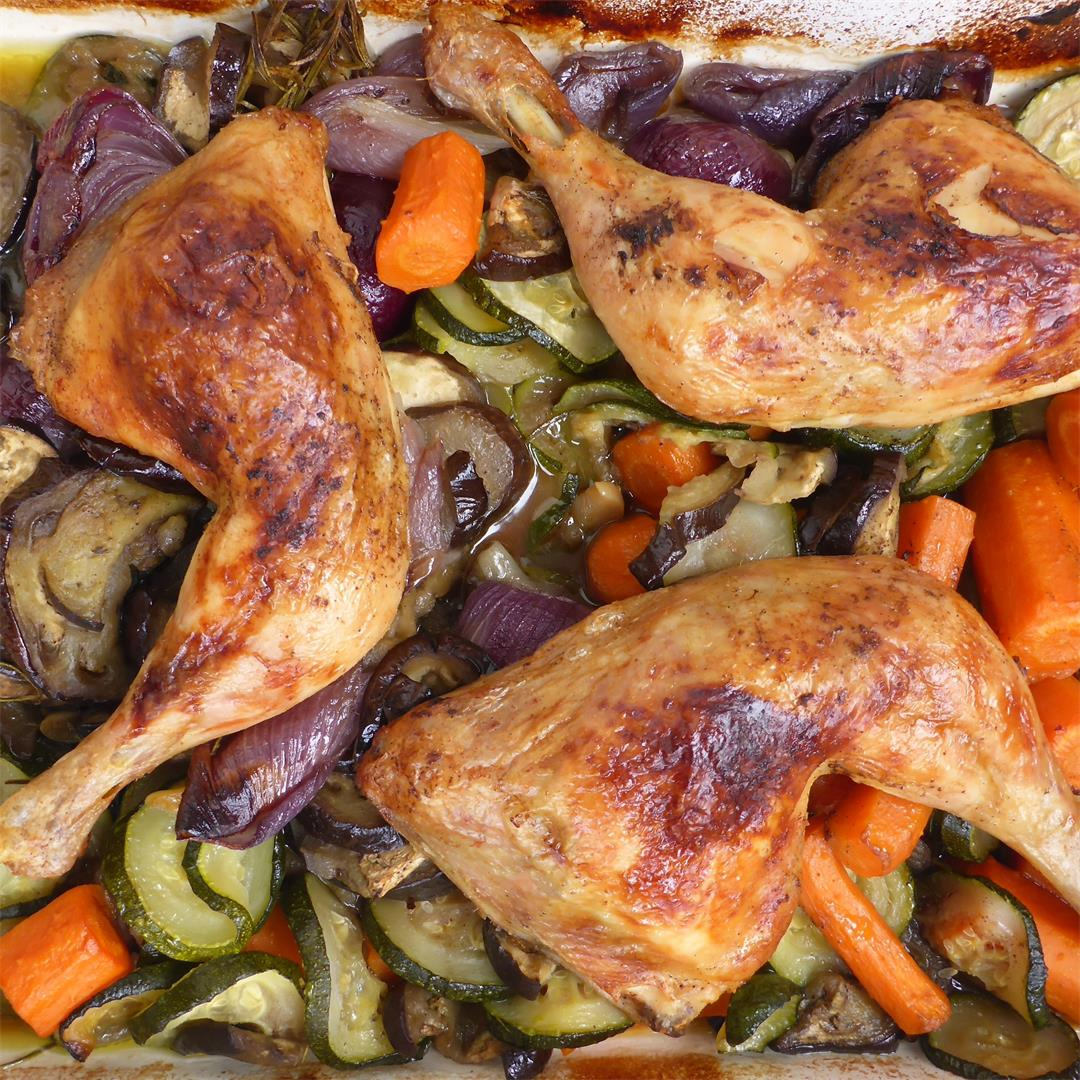 Easy Oven roasted chicken and vegetables recipe
