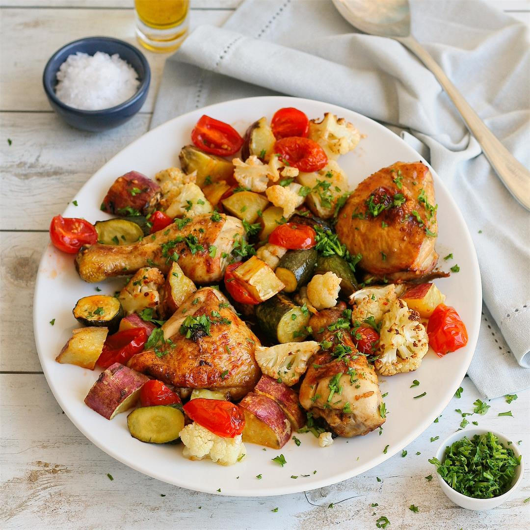 Tamari chicken tray bake