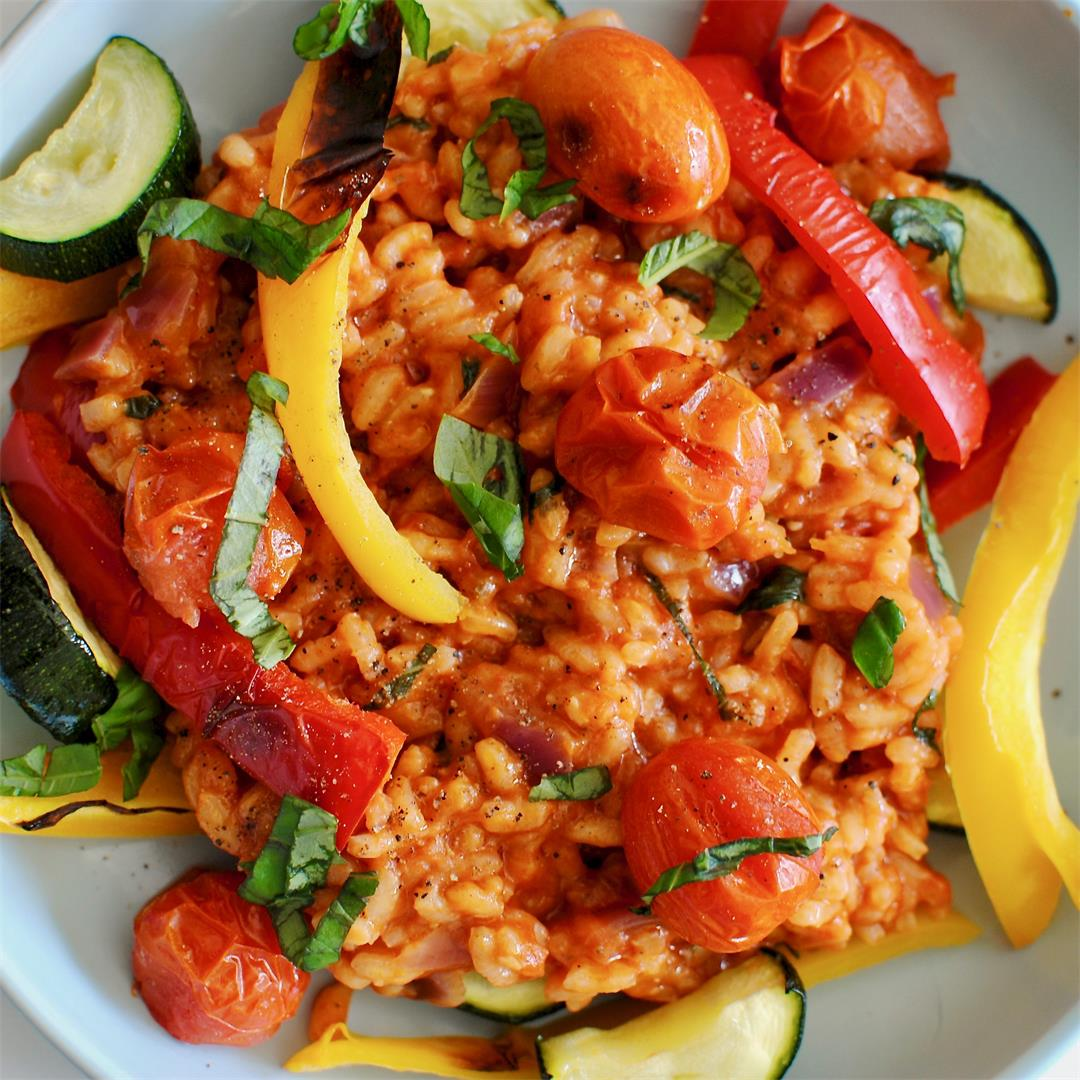 Tomato Risotto with Chargrilled Veggies