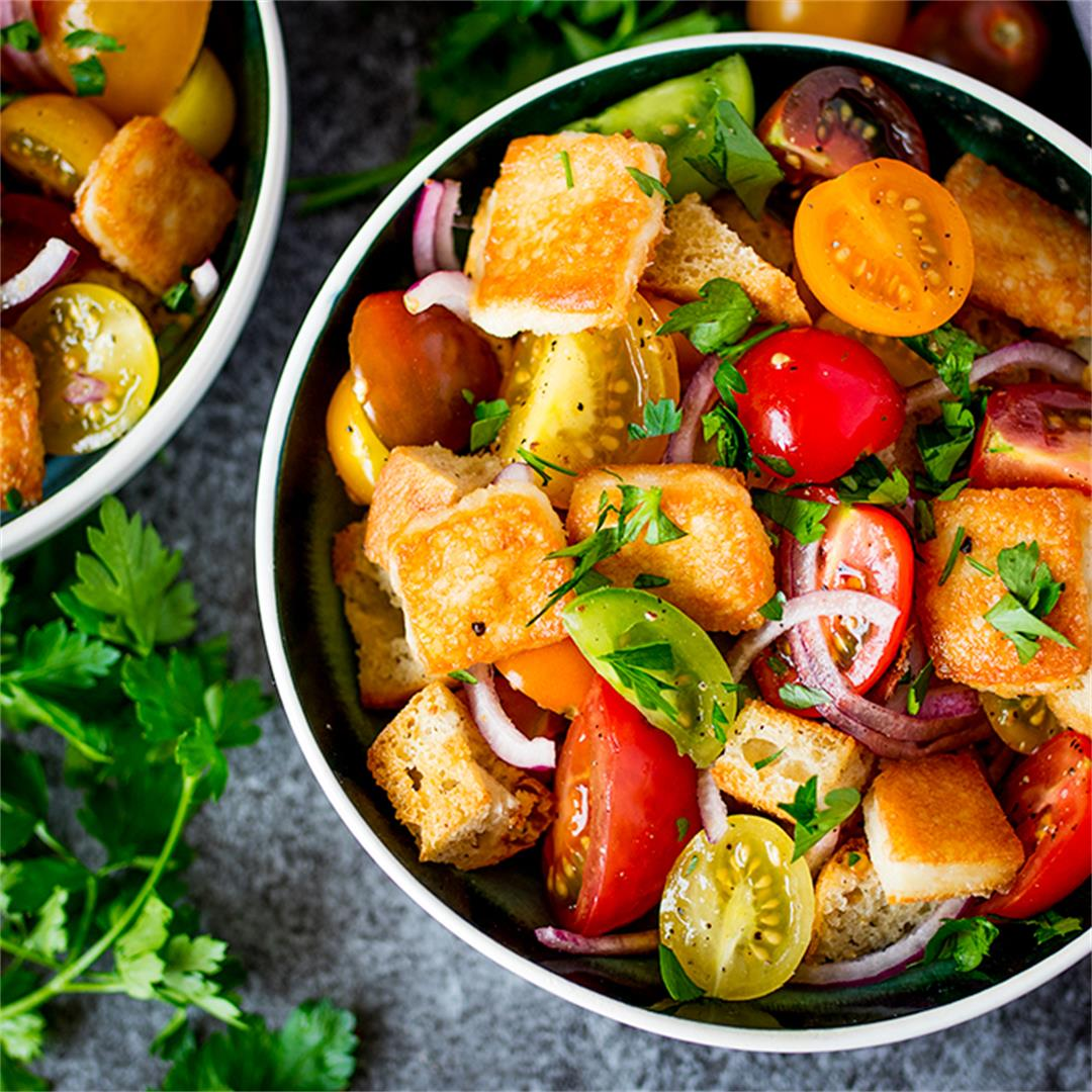 Panzanella Salad with Saganaki