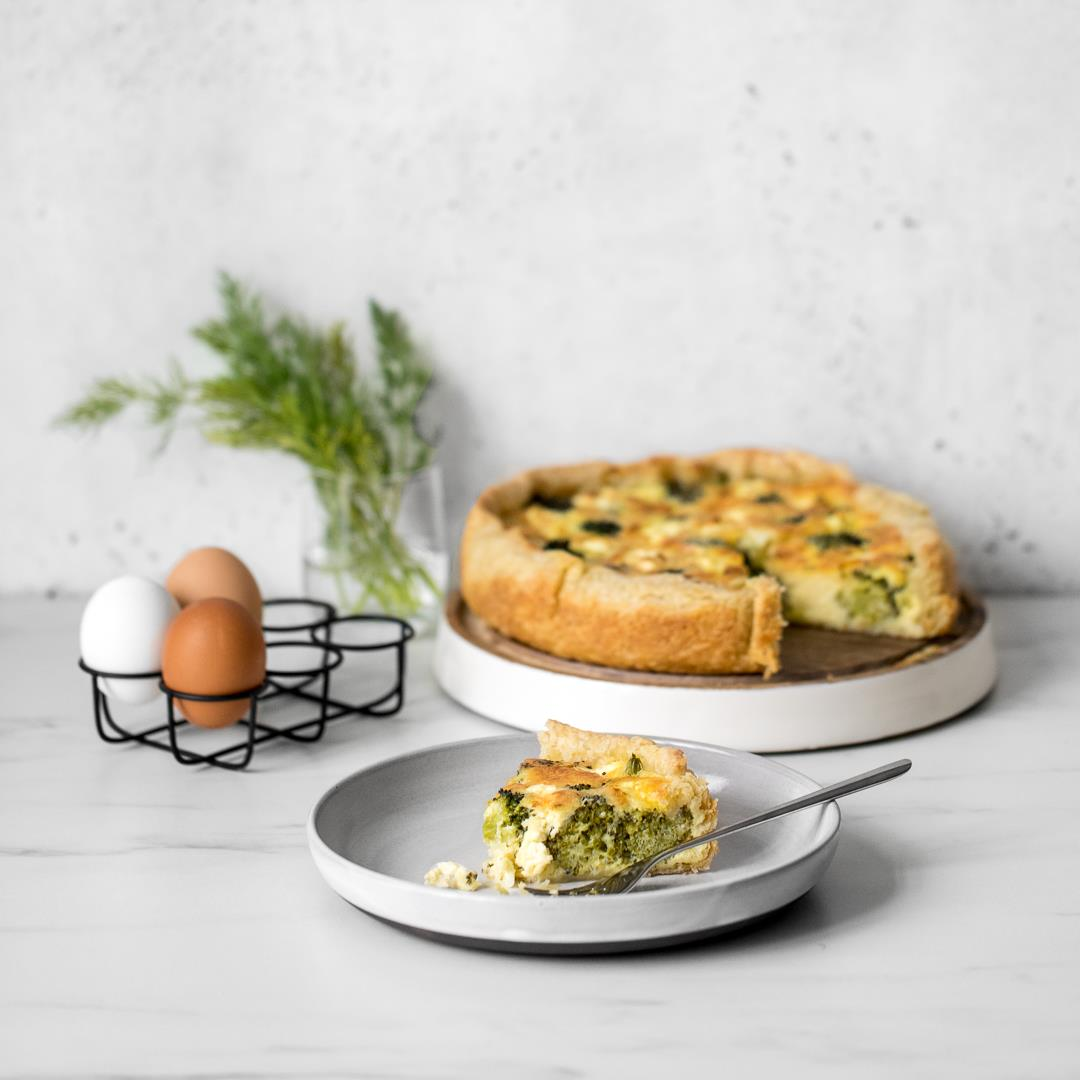 Broccoli and Cheese Quiche with Feta, Chévre & Lemon