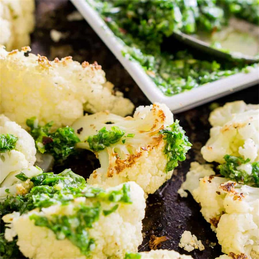 Roasted Cauliflower with Parsley Pesto