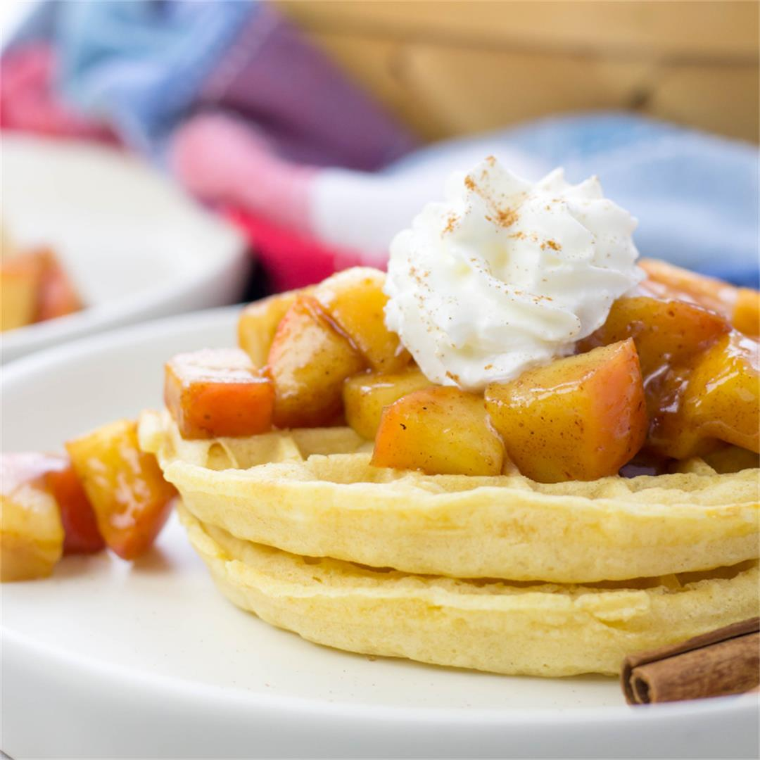Waffles with Cinnamon Apple Topping