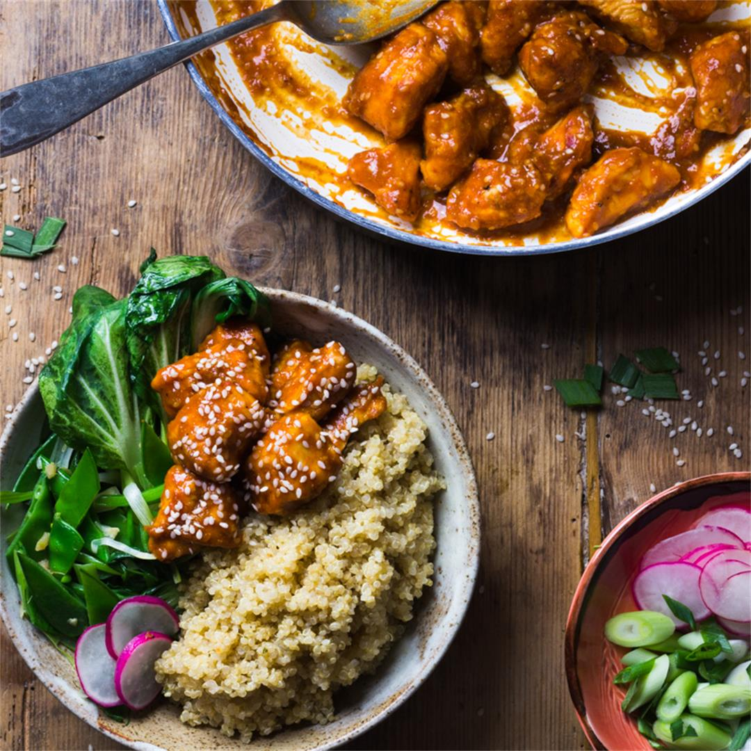 Sesame seed chicken; sticky, sweet and slightly spicy