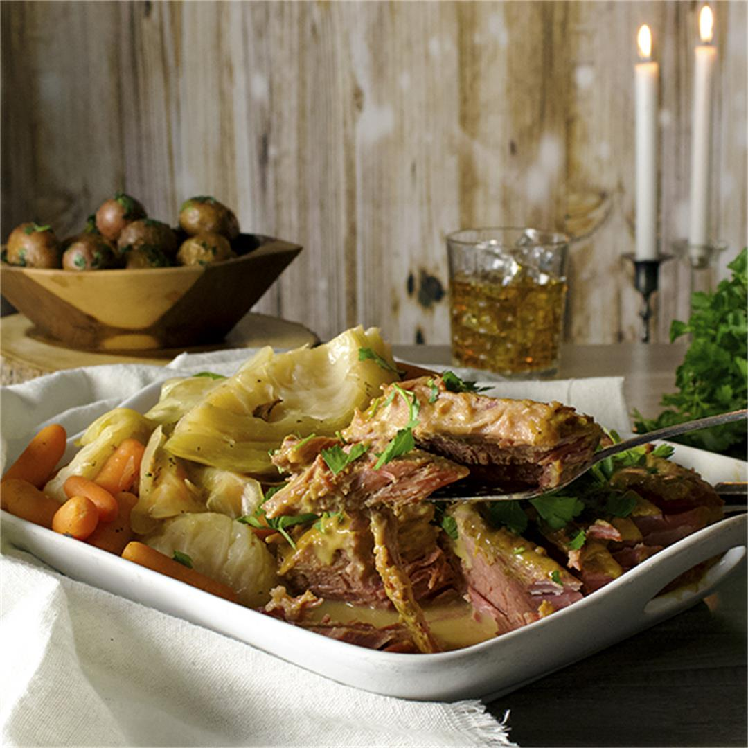 Slow Cooker Corned Beef and Cabbage with Parsley Buttered Potat