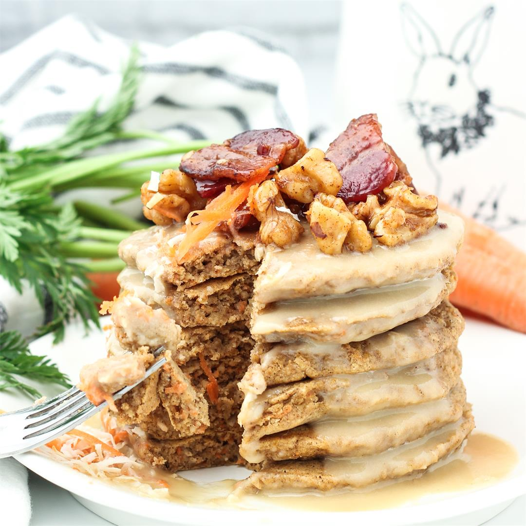 Carrot Cake Pancakes with Maple Cashew