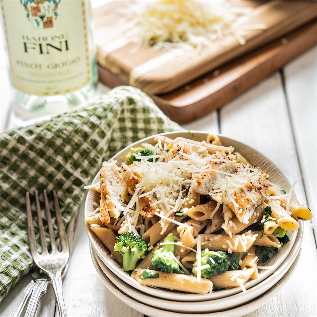 Parmesan Chicken Broccoli Penne with White Wine Sauce
