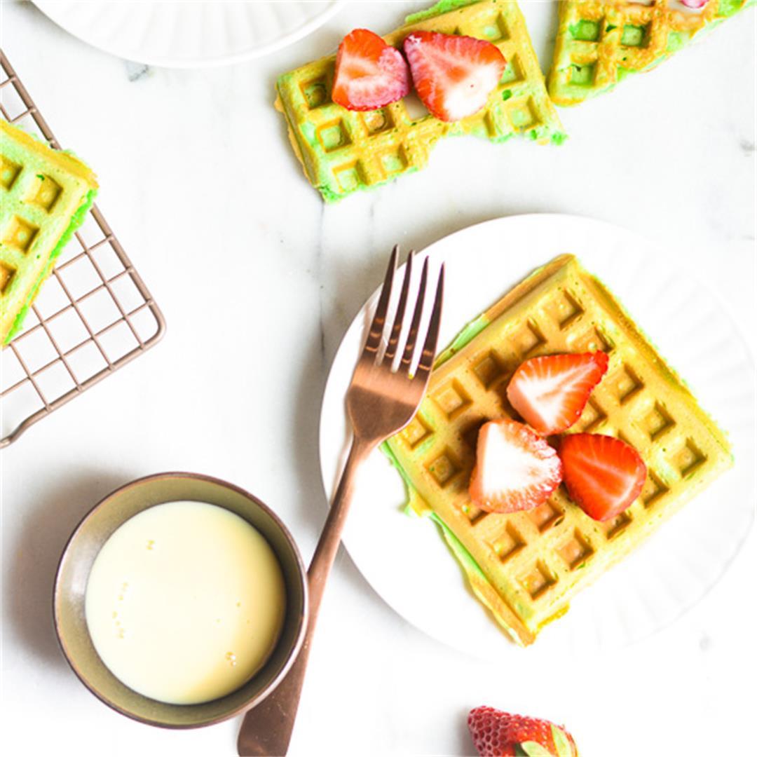 Pandan Coconut Waffles