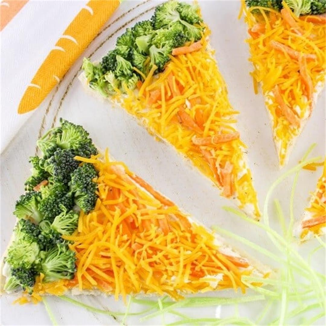 Carrot-Shaped Veggie Pizza Bars